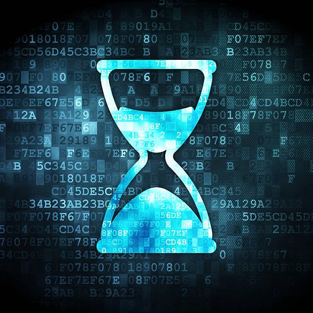 time concept: hourglass on digital background - zandloper icoon stockfoto's en -beelden