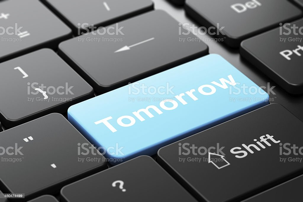 Time concept: Tomorrow on computer keyboard background royalty-free stock photo