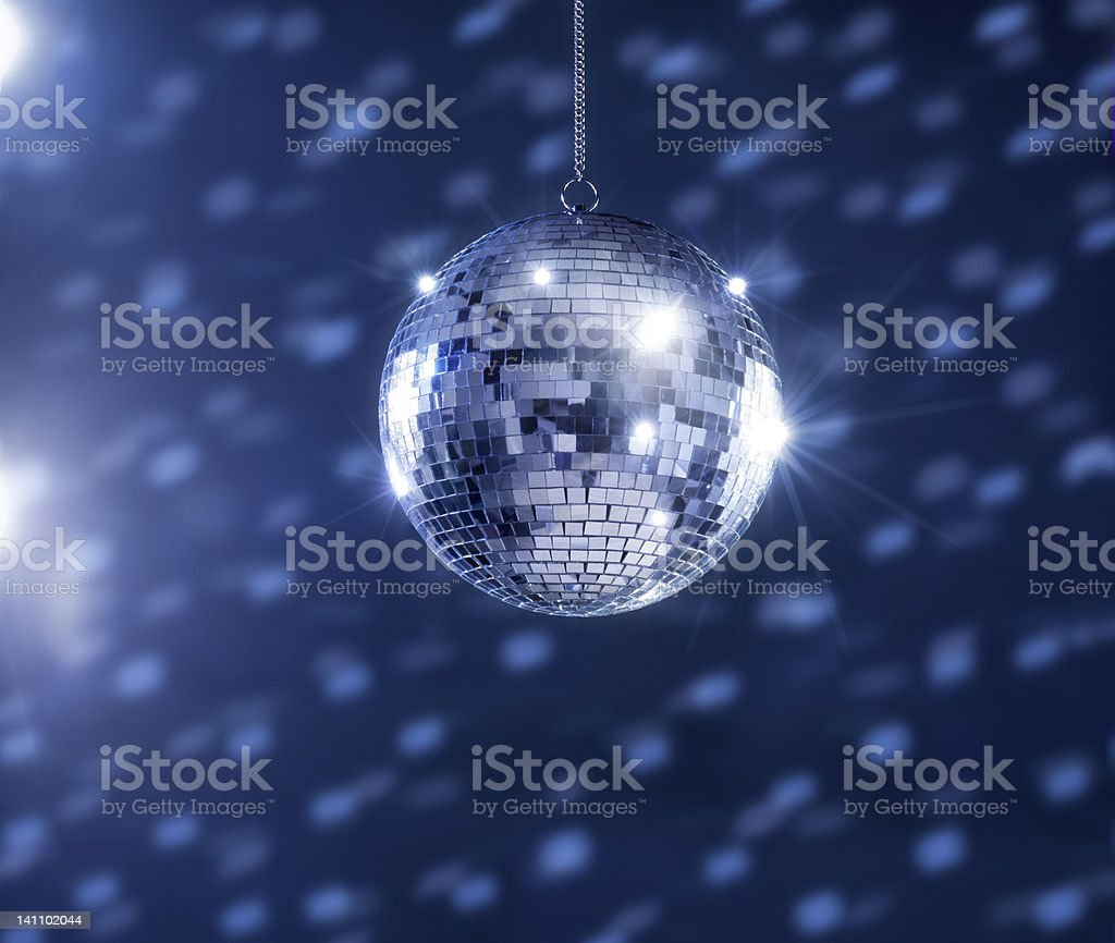 Time Disco ball blue white light royalty-free stock photo