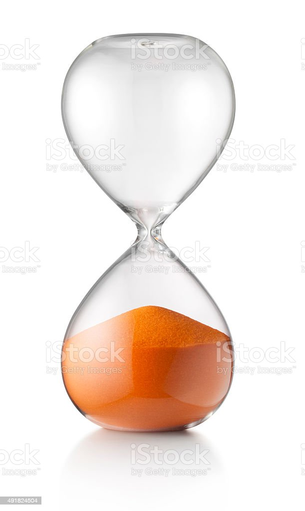 Time expired. Hourglass stock photo