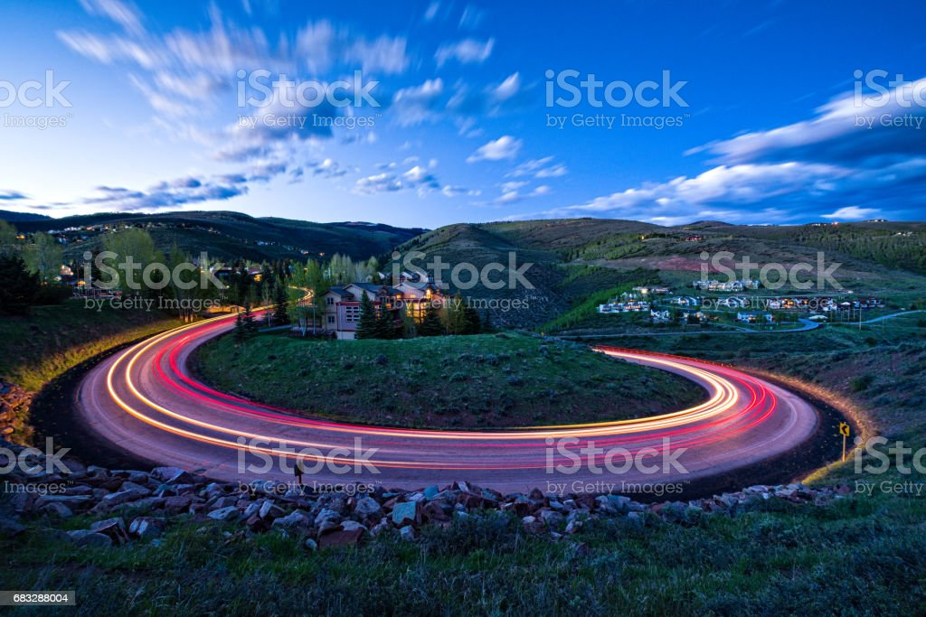 Time Exposure Loop Road Switchback at Dusk stock photo