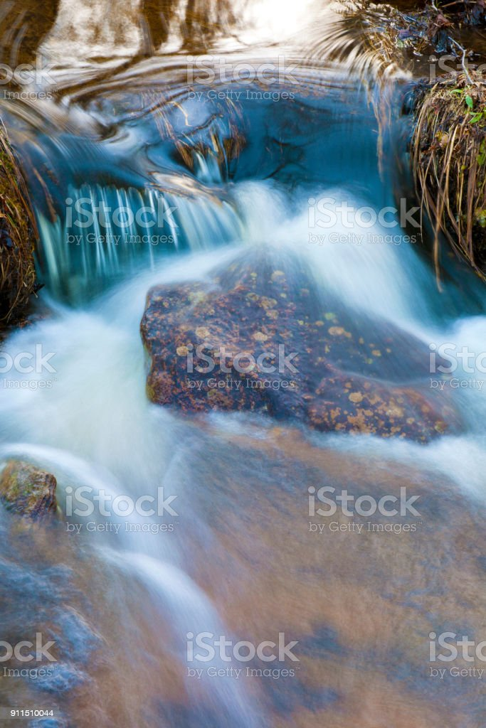Time exposure of babbling brook. stock photo