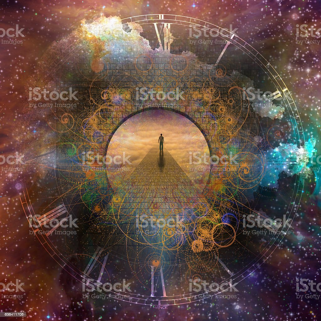 Time Fantasy Man in creation with time element Accessibility Stock Photo