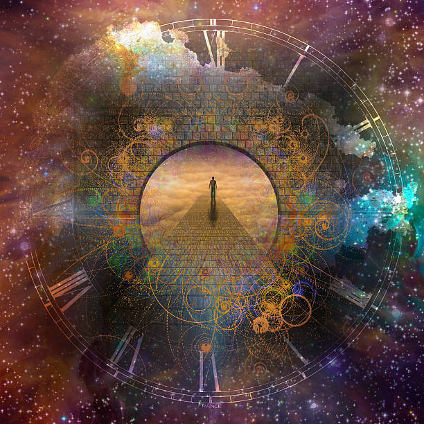 Time Fantasy Man in creation with time element eternity stock pictures, royalty-free photos & images