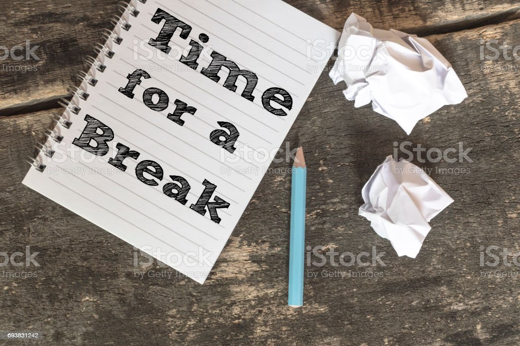 Time for a Break on a notebook stock photo