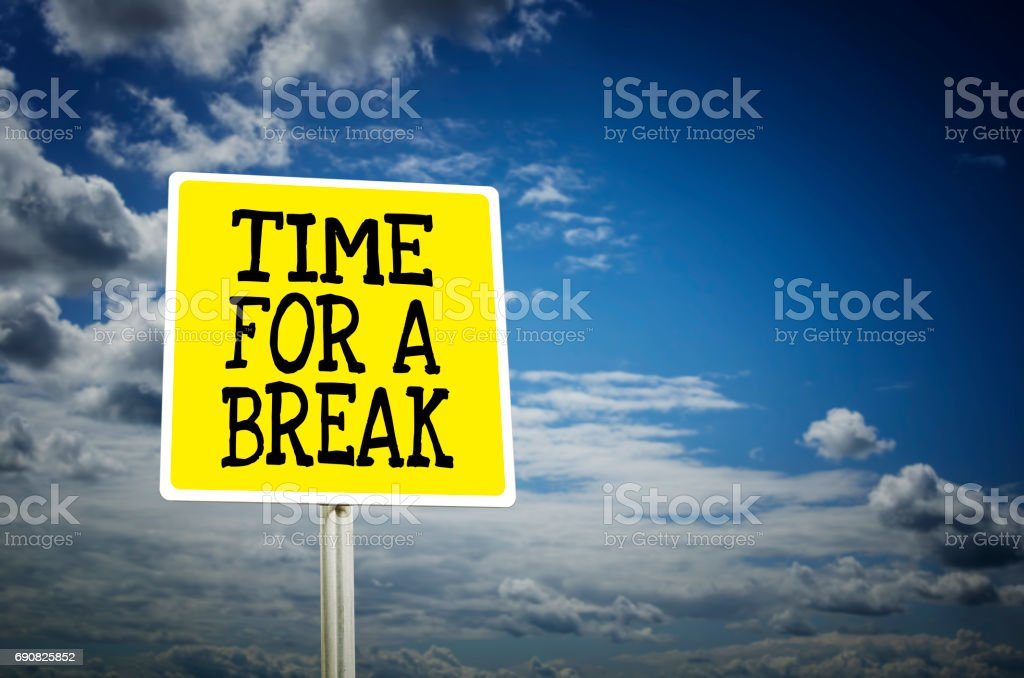 Time for a break road sign with cloud background stock photo