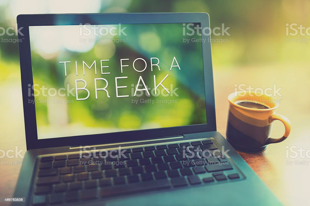 Time for a coffee break vintage editing style stock photo