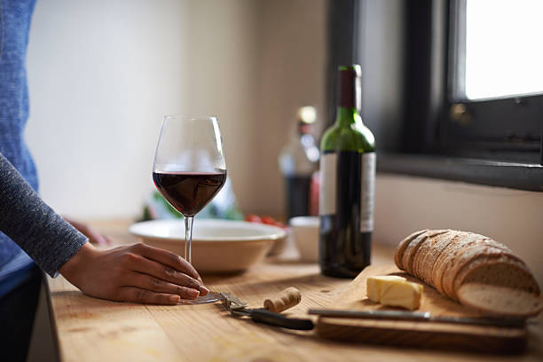 Time for a glass of wine stock photo