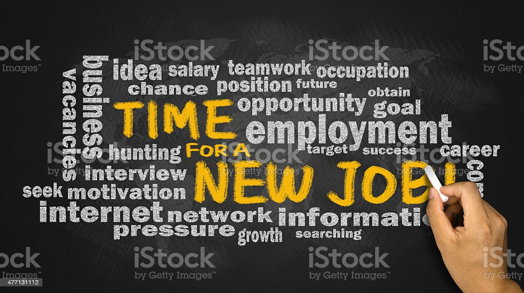 time for a new job with related word cloud stock photo