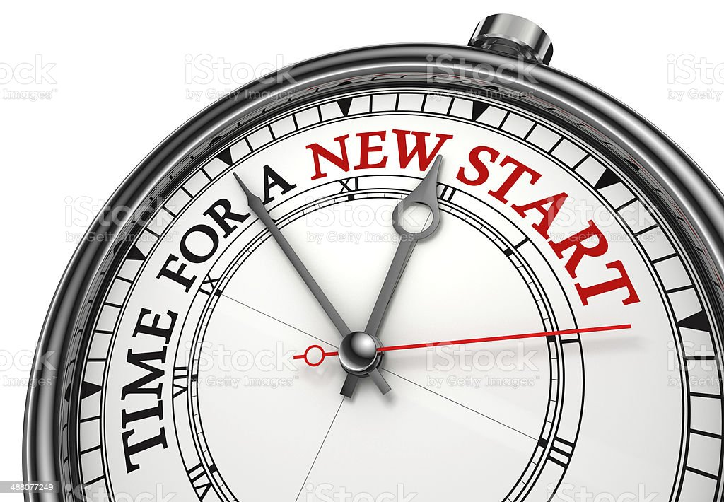 time for a new start stock photo