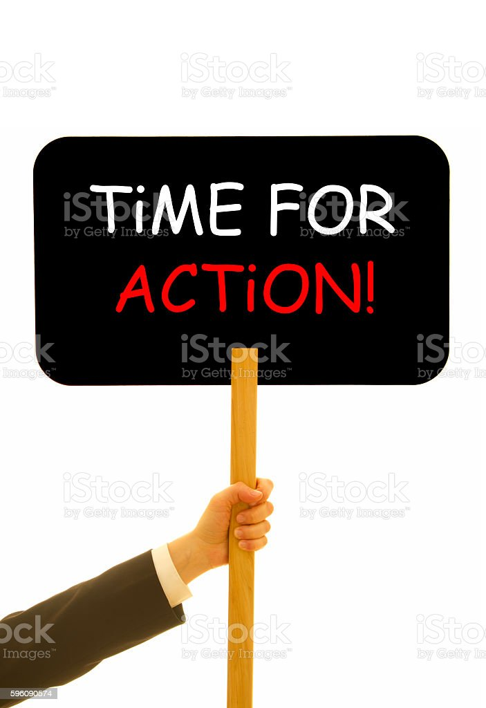 Time for action message written on a small blackboard royalty-free stock photo