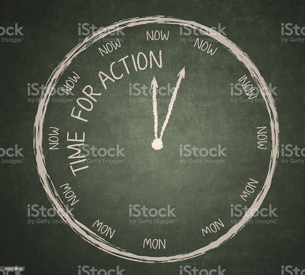 Time for Action on blackboard stock photo