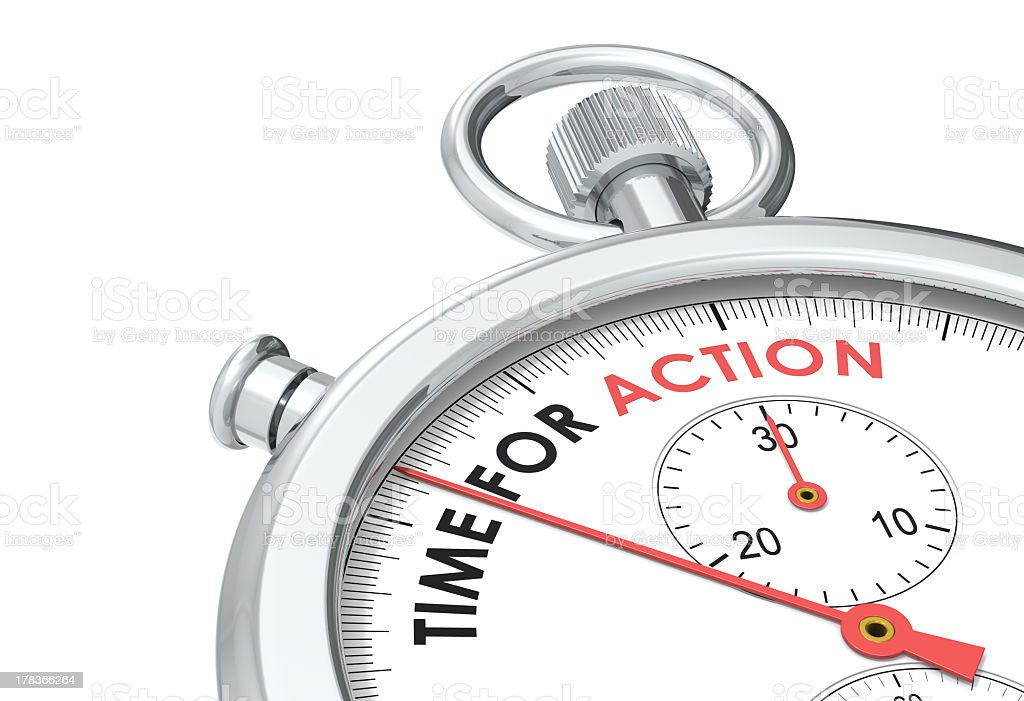 Time for Action. stock photo