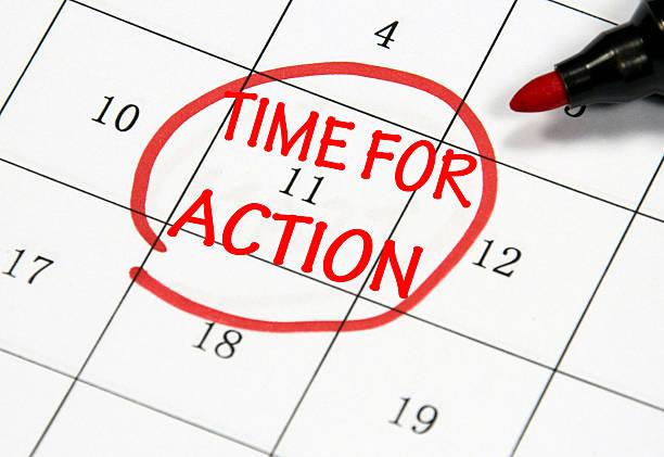zeit für action - - sprüche kalender stock-fotos und bilder