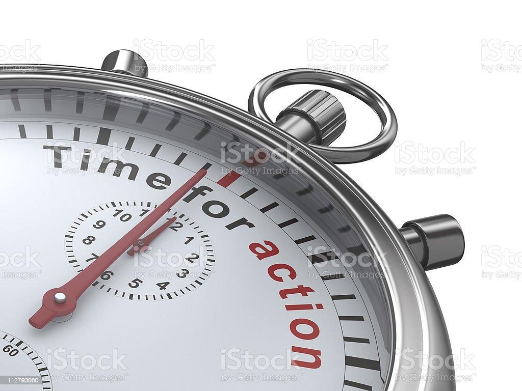 Zeit zu handeln. Stoppuhr auf weißem Hintergrund. Isolierte 3D imag – Foto