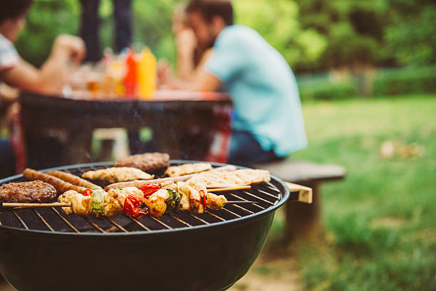 time for barbecue - barbecue grill stock photos and pictures