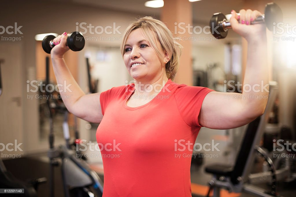 Time for exercise of shoulder stock photo