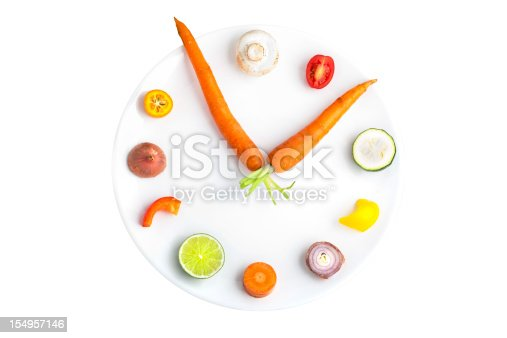 Clock with fruits and vegetables as numbers. Isolated on white.