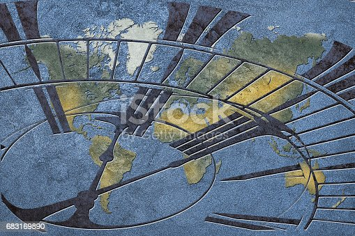 istock Time for global business. World Map with a clock. 683169890