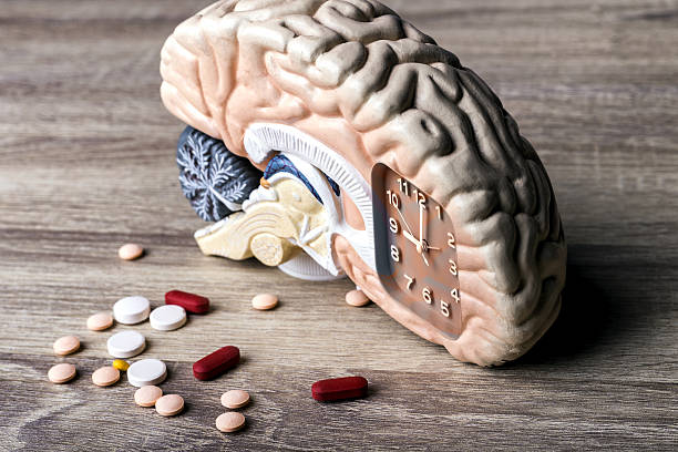 time for head pills - sleeping pill stock photos and pictures