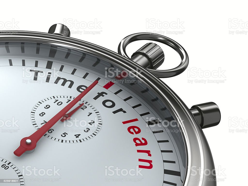 Time for learn. Stopwatch on white background. Isolated 3D image stock photo
