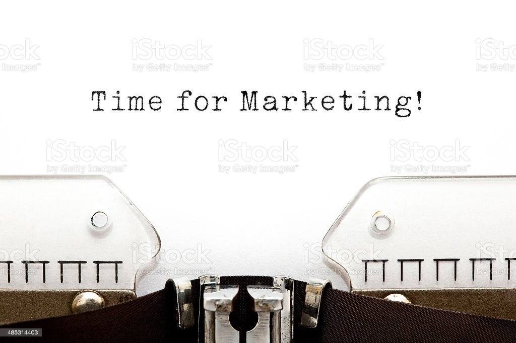 Tempo per il Marketing macchina da scrivere - foto stock