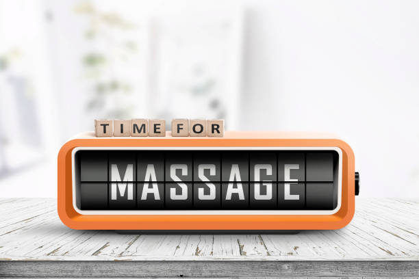 Time for massage message on a retro clock stock photo
