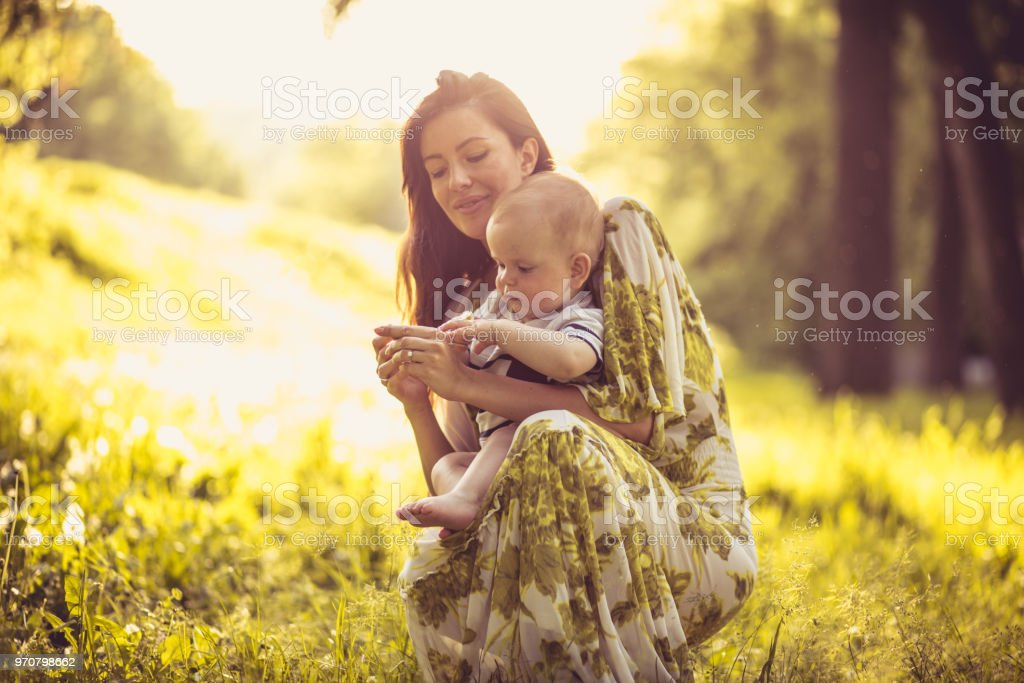 Time For My Baby Son And Me Middle Age Mother Stock Photo