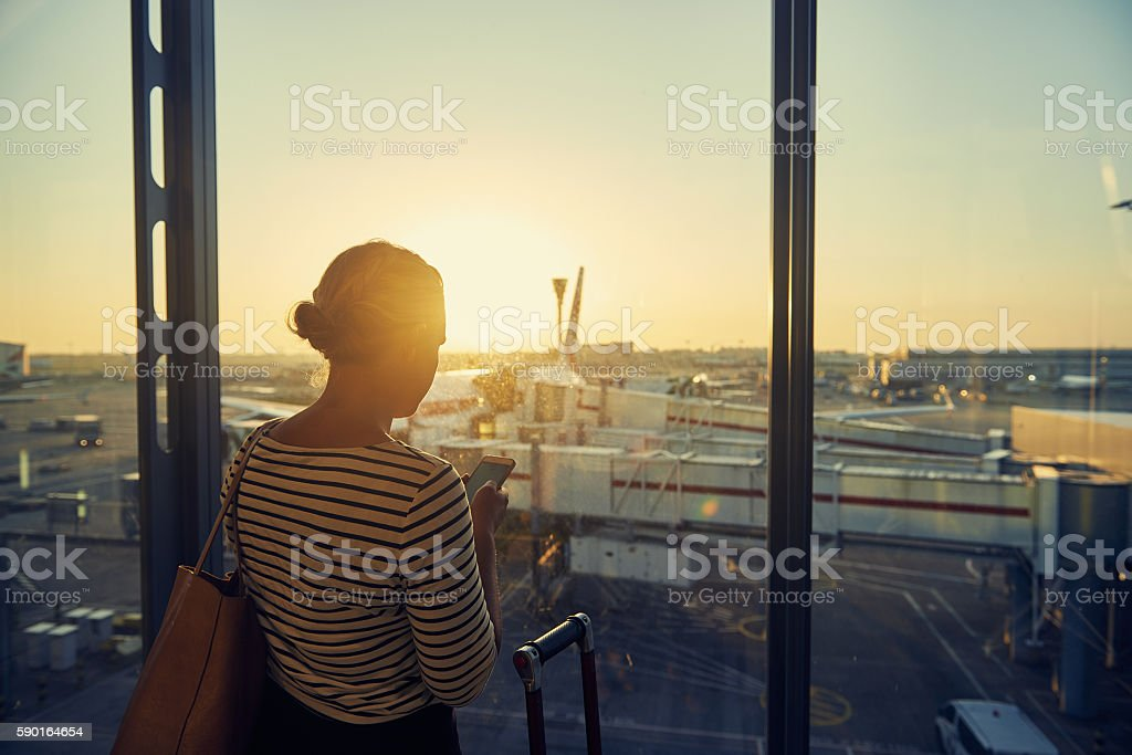 Time for one more message before boarding stock photo