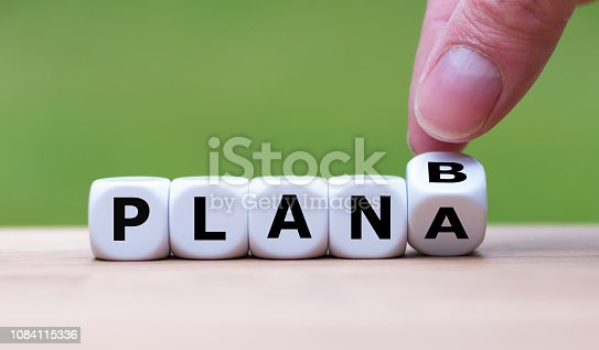 istock Time for Plan B. Hand is turning a dice and changes the word