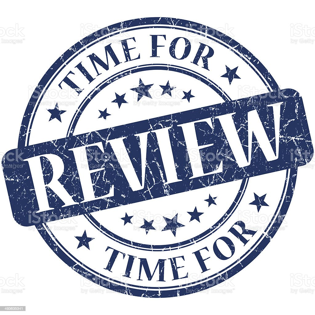 Time for review blue round grungy vintage isolated rubber stamp stock photo