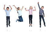 Studio shot of children jumping with excitement isolated on whitehttp://195.154.178.81/DATA/i_collage/pu/shoots/805346.jpg