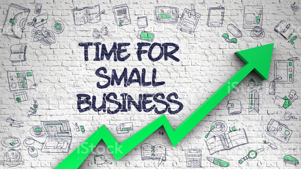 Time For Small Business Drawn on White Brickwall royalty-free stock photo