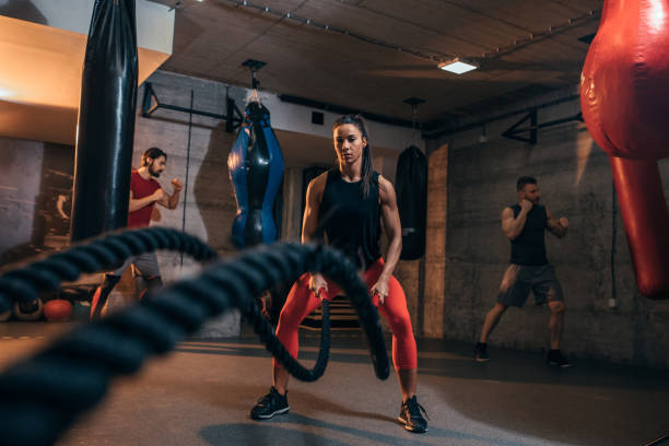 Time for some battle ropes stock photo