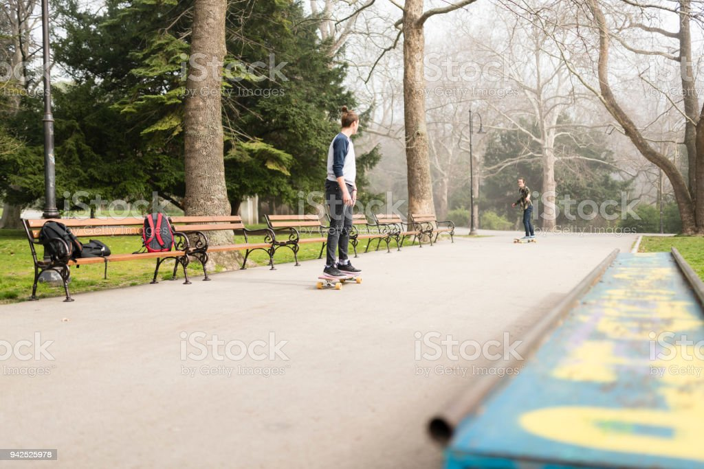 Time for some skateboarding after school stock photo