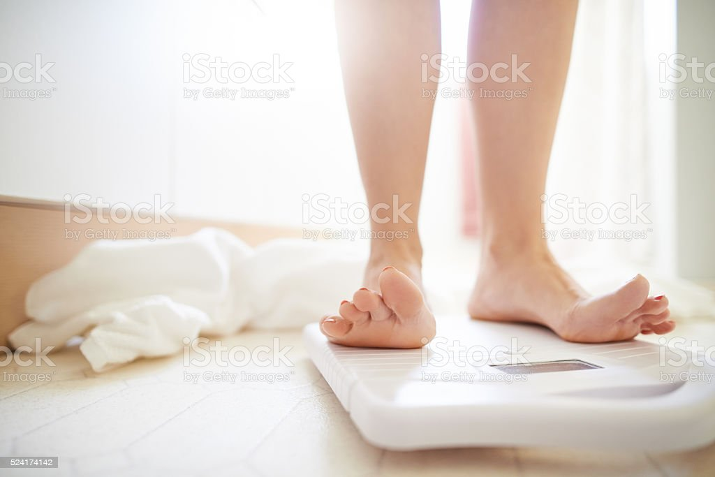 Time for the daily weigh-in stock photo