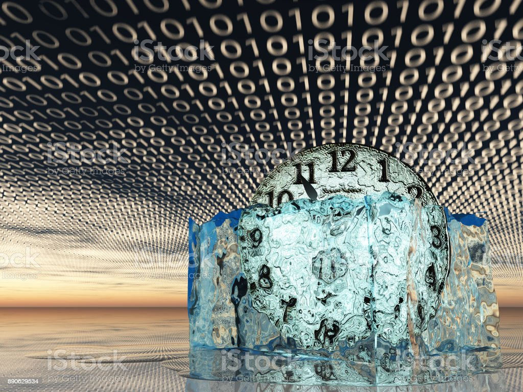 Time in melting ice with binary code stock photo