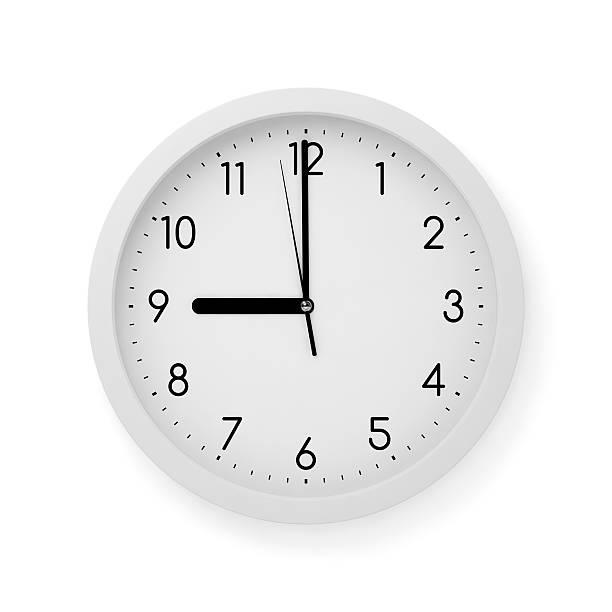 tiempo, posición de las 9:00 h - wall clock fotografías e imágenes de stock