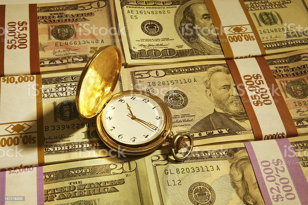 Time is Definitely Money (Gold Tone) royalty-free stock photo