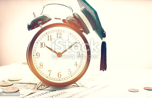 959387240 istock photo Time is money, Analog Clock on Dollars bills, Singapore banknotes and papers letter, Business News Update, Concept of Financial times for saving moneys for future, old tone 883833636