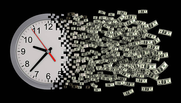Time Is Money. Clock Falling Apart To Dollars. Concept. stock photo