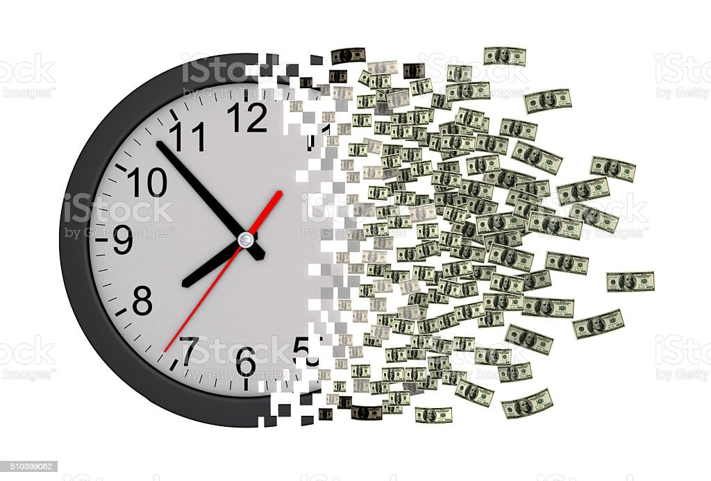 Time Is Money. Clock Falling Apart To Dollars. stock photo