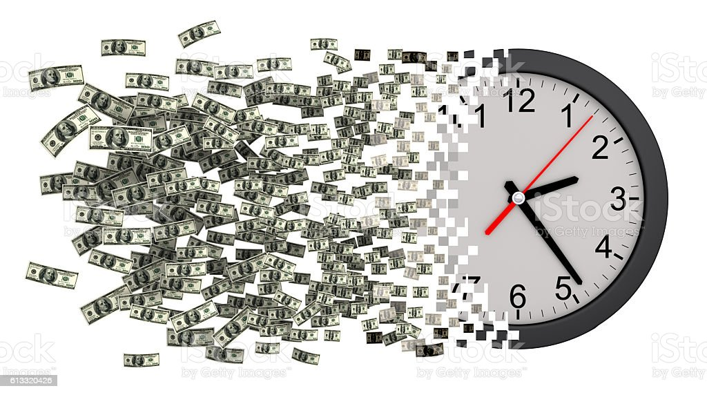 Time Is Money. Clock Falling Apart To Dollars stock photo