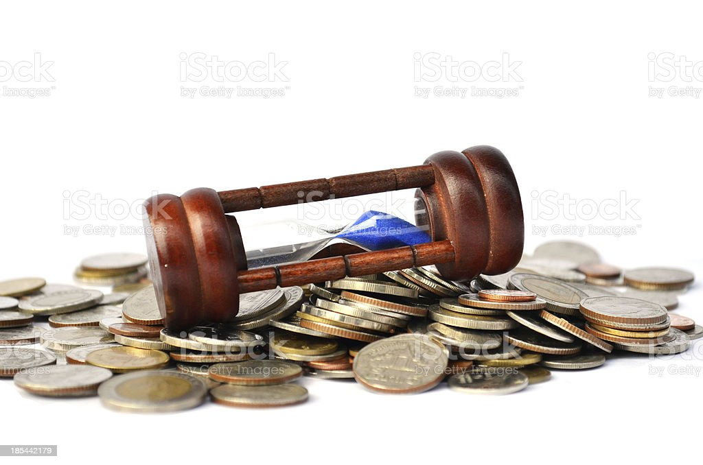Time is money coin and sand glass stock photo