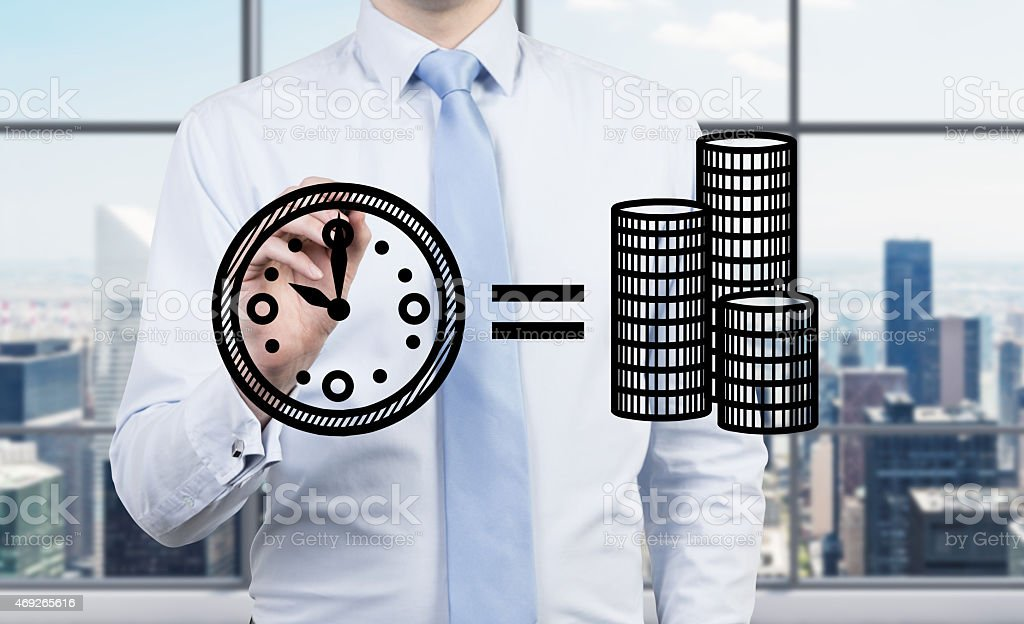 A time is money concept, with a city skyline backdrop  stock photo