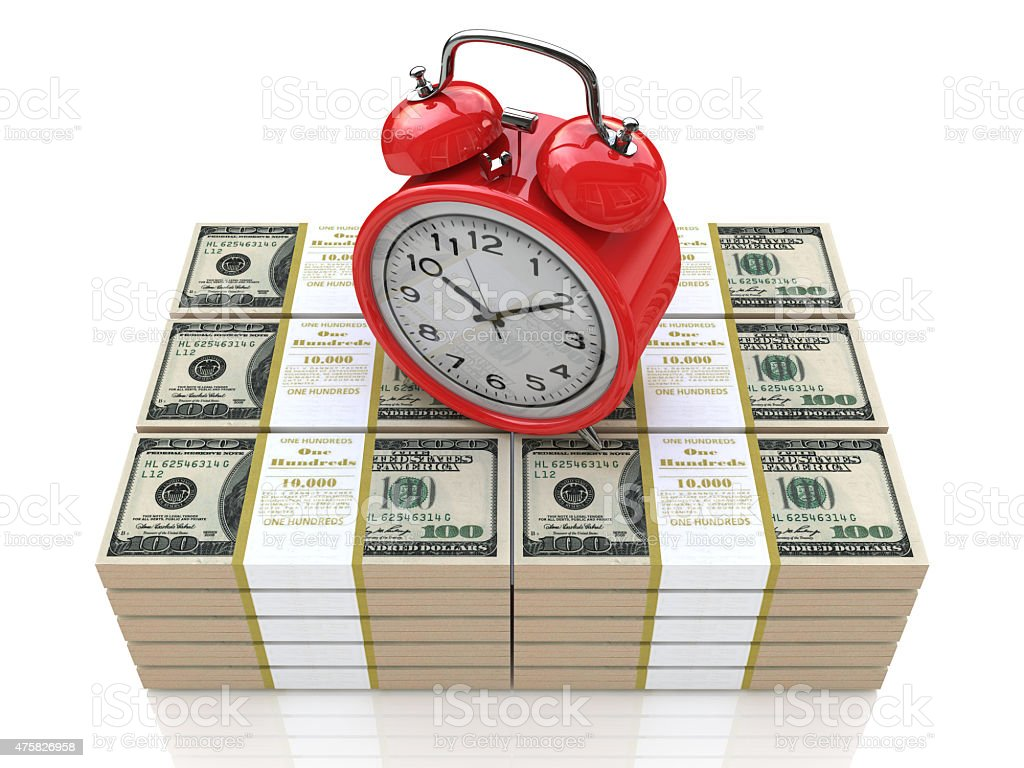 Time is money concept with clock and dollars stock photo