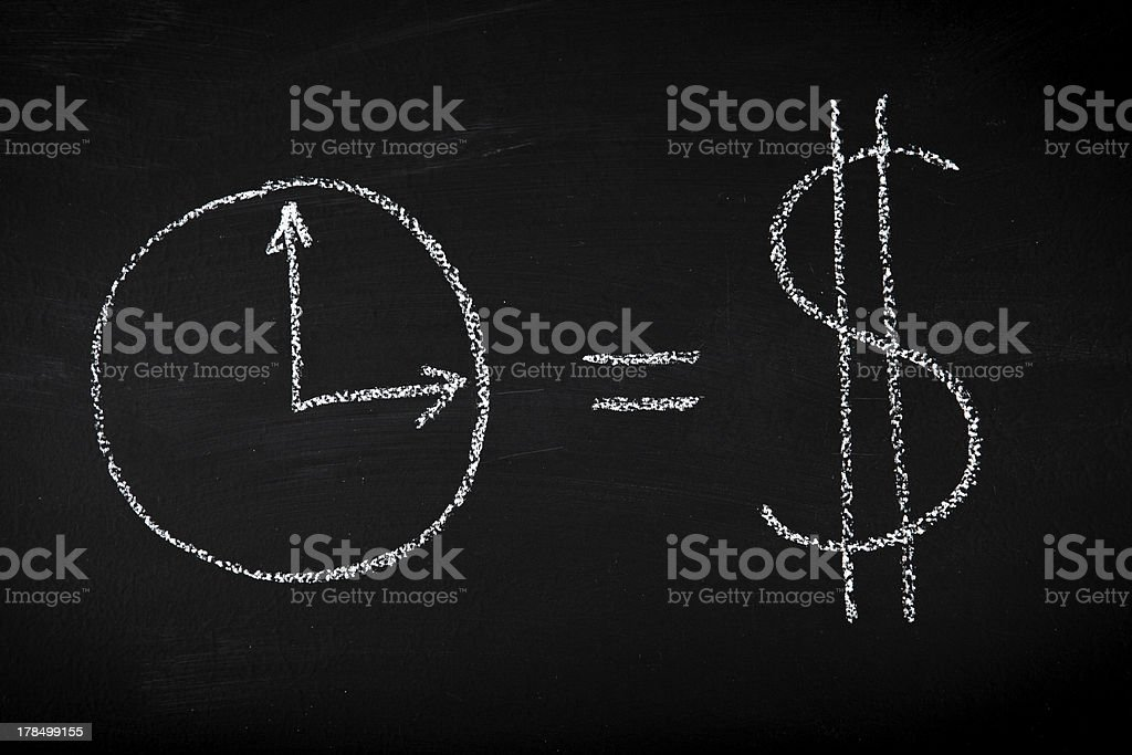 Time is money drown on chalkboard royalty-free stock photo