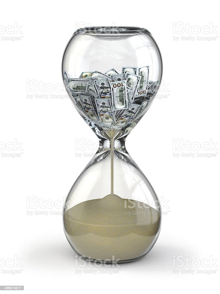 Time is money. Inflation. Hourglass and dollar. stock photo