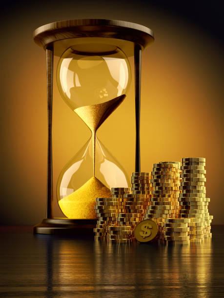 tijd is geld, geld en tijd beheer bedrijfsconcept maken - zandloper icoon stockfoto's en -beelden