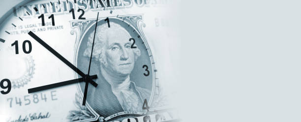 Time is money Clock and American banknote. Time is money idea time is money stock pictures, royalty-free photos & images